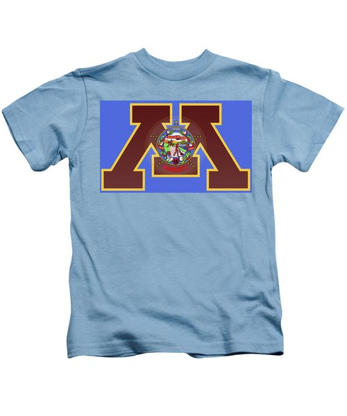 U Of M Minnesota State Flag Kids T-Shirt by Daniel Hagerman