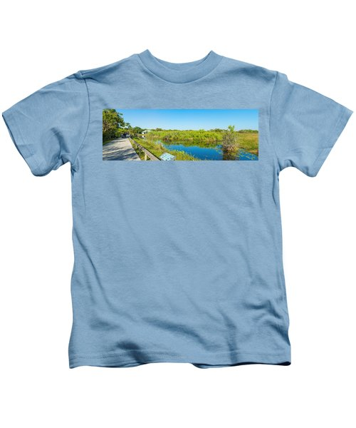 Reflection Of Trees In A Lake, Anhinga Kids T-Shirt