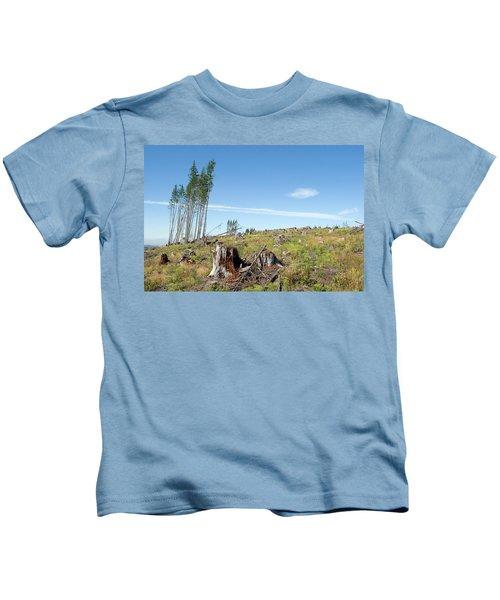 Scenic Of Clear Cutting Near Mt Kids T-Shirt