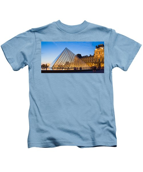 Pyramid In Front Of A Museum, Louvre Kids T-Shirt by Panoramic Images