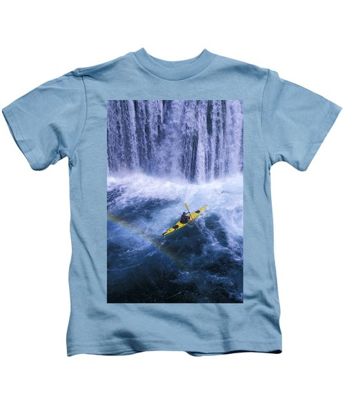A Kayaker Plays In The Falls Kids T-Shirt