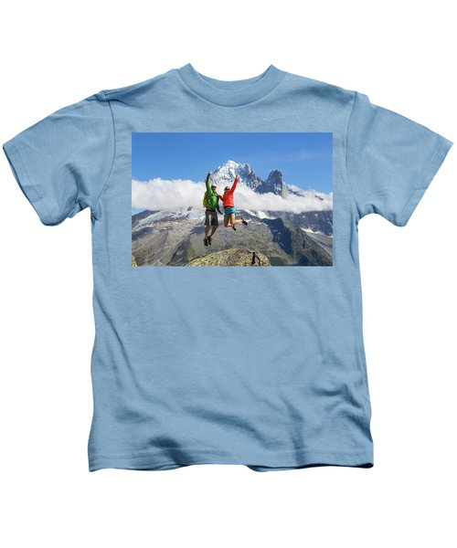 A Male And Female In Colorful Clothing Kids T-Shirt