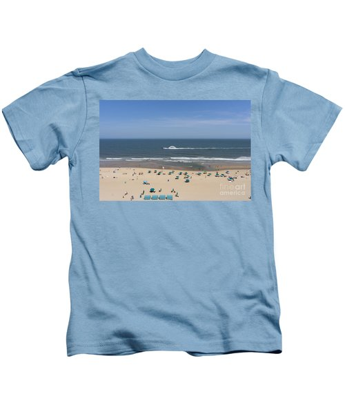A Touring Speedboat Passes By Shore In Ocean City Maryland Kids T-Shirt