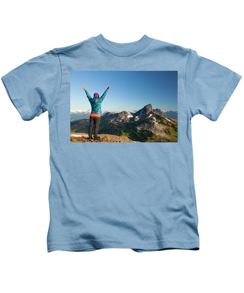 A Young Woman Celebrates After Reaching Kids T-Shirt