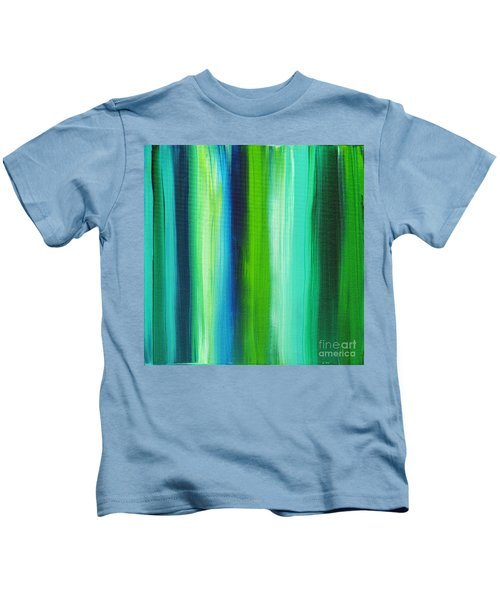 Abstract Art Original Textured Soothing Painting Sea Of Whimsy Stripes I By Madart Kids T-Shirt