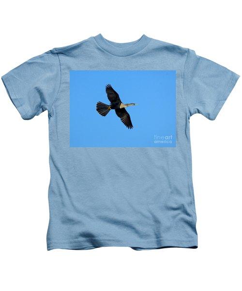 Anhinga Female Flying Kids T-Shirt by Anthony Mercieca