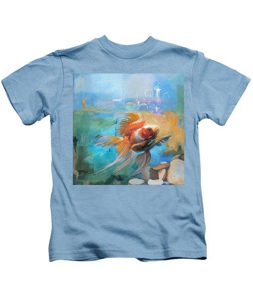 Aqua Gold Kids T-Shirt by Catf
