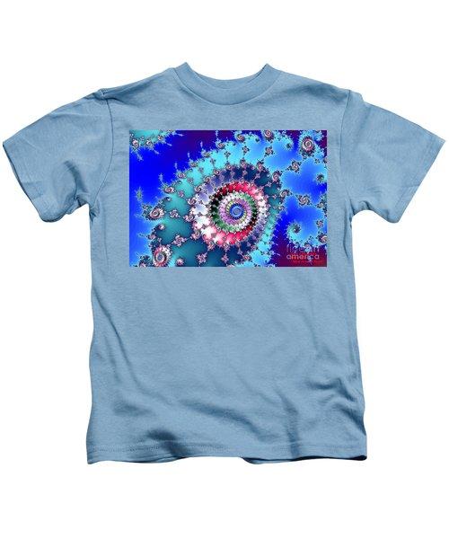 Blue Fractal Swirl Kids T-Shirt