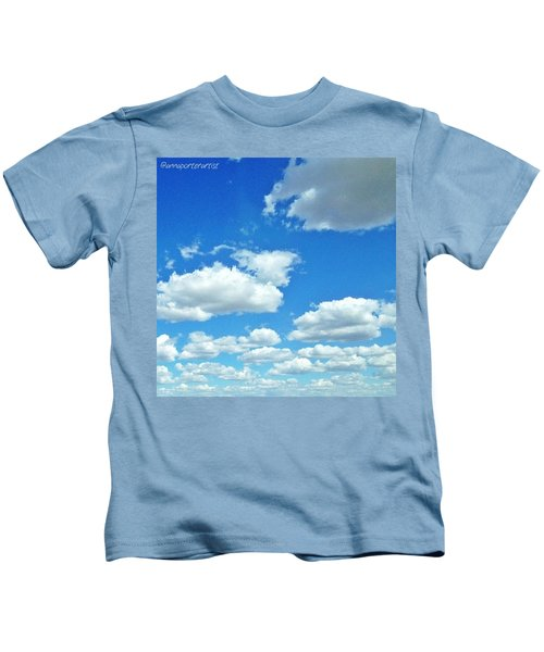 Blue Sky And White Clouds Kids T-Shirt