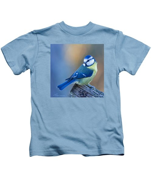 Blue Tit Looking Behind Kids T-Shirt