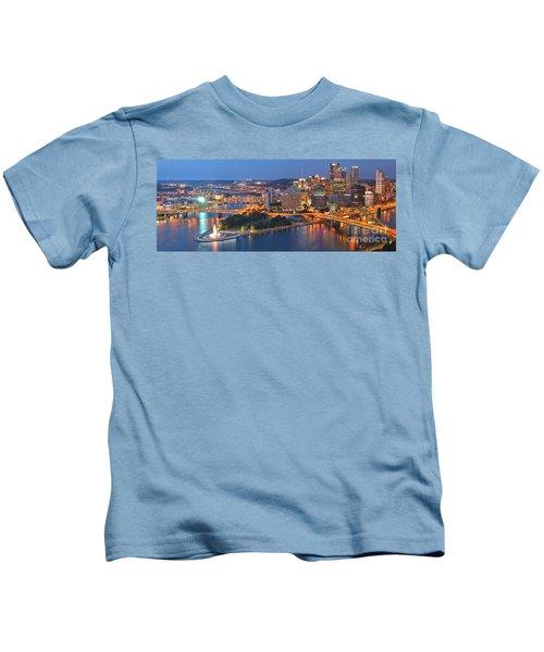 Bridge To The Pittsburgh Skyline Kids T-Shirt