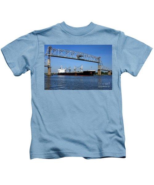 Cargo Ship Under Bridge Kids T-Shirt