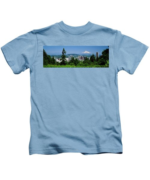 City With Mt. Hood In The Background Kids T-Shirt