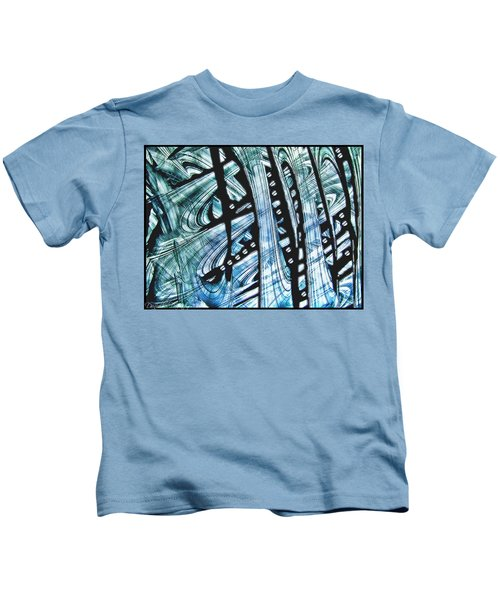 Criss Cross Lines Abstract Alcohol Inks Kids T-Shirt