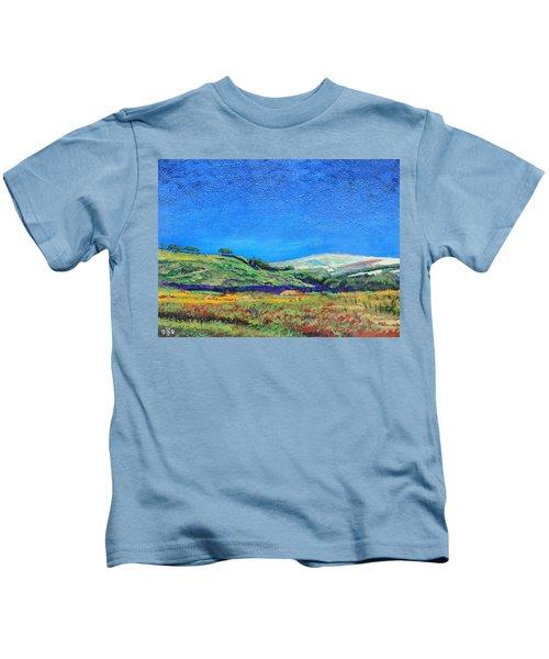 Derbyshire Landscape, 1999 Oil On Board Kids T-Shirt