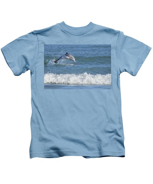 Dolphin In Surf Kids T-Shirt