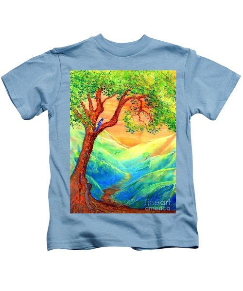Dreaming Of Bluebells Kids T-Shirt by Jane Small