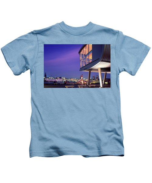 Elbe River With Waterfront Skyline Kids T-Shirt