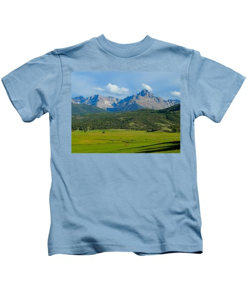 Elk Below Mount Sneffels Kids T-Shirt