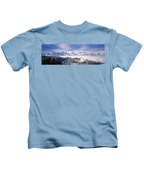 Evergreen Trees On A Snow Covered Kids T-Shirt