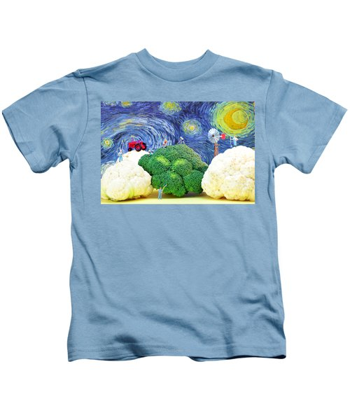 Farming On Broccoli And Cauliflower Under Starry Night Kids T-Shirt by Paul Ge
