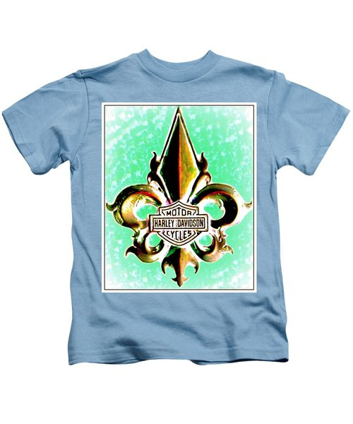 Fleurs De Lys And Harley Davidson Logo Bronze Green Kids T-Shirt