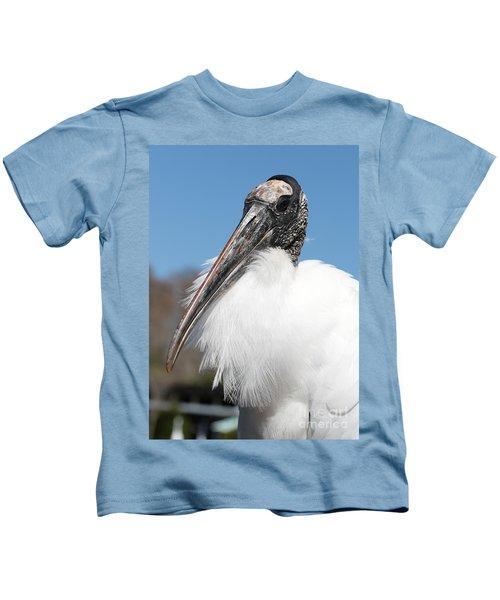 Fluffy Wood Stork Kids T-Shirt by Carol Groenen