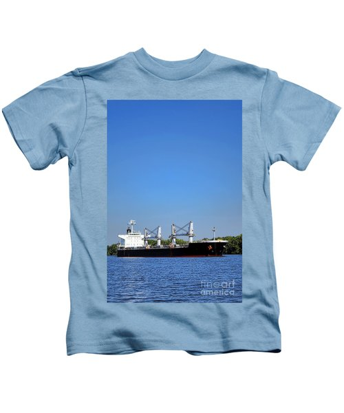 Freighter On River Kids T-Shirt