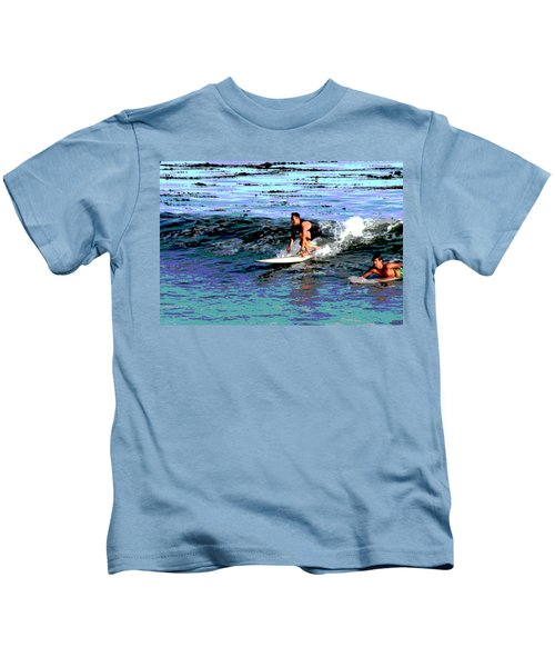 Friends Sharing A Wave Kids T-Shirt