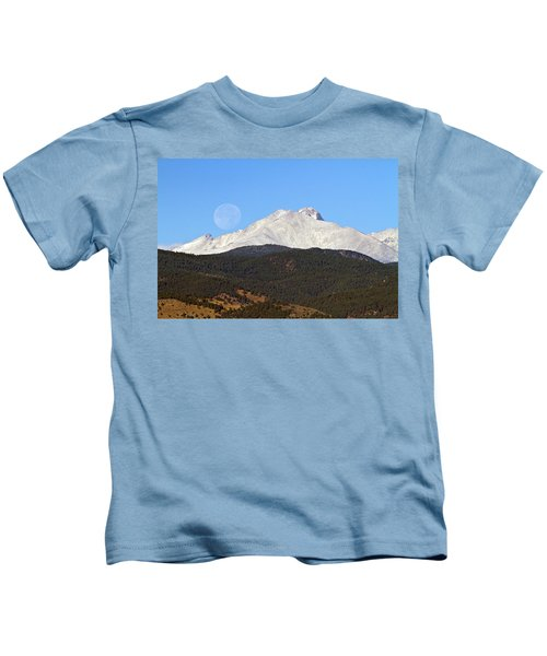Full Moon Setting Over Snow Covered Twin Peaks  Kids T-Shirt