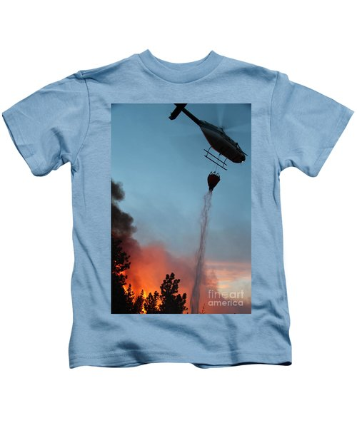 Helicopter Drops Water On White Draw Fire Kids T-Shirt