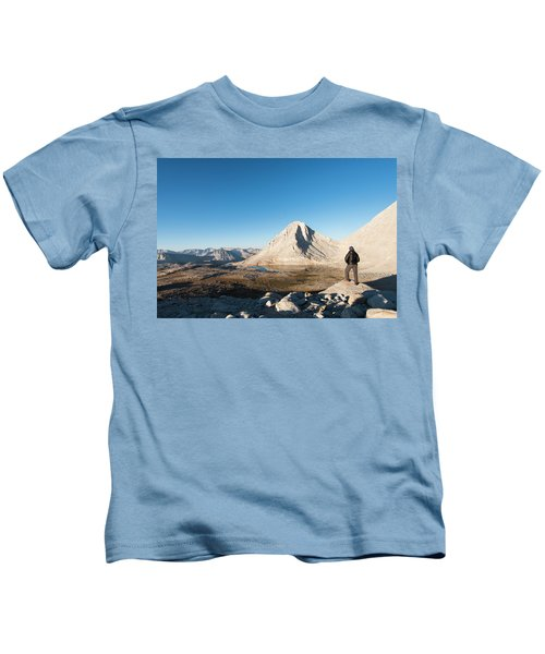 Hiker Looking Over Royce Lakes Kids T-Shirt