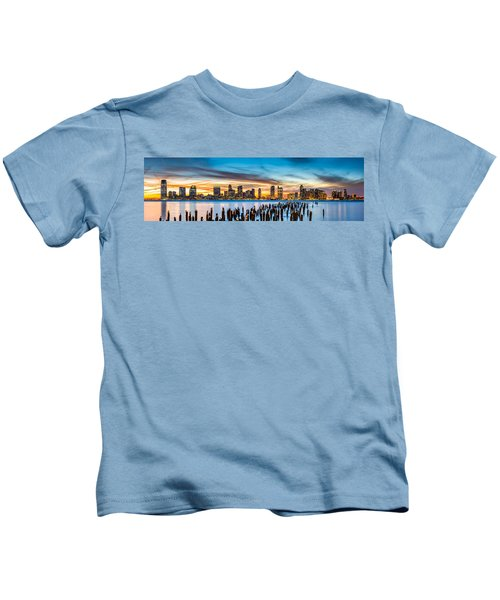 Jersey City Panorama At Sunset Kids T-Shirt