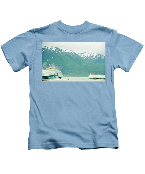 Kayakers Navigating Icebergs In Alsek Kids T-Shirt