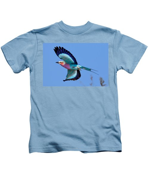 Lilac-breasted Roller In Flight Kids T-Shirt