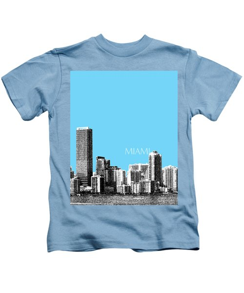 Miami Skyline - Sky Blue Kids T-Shirt