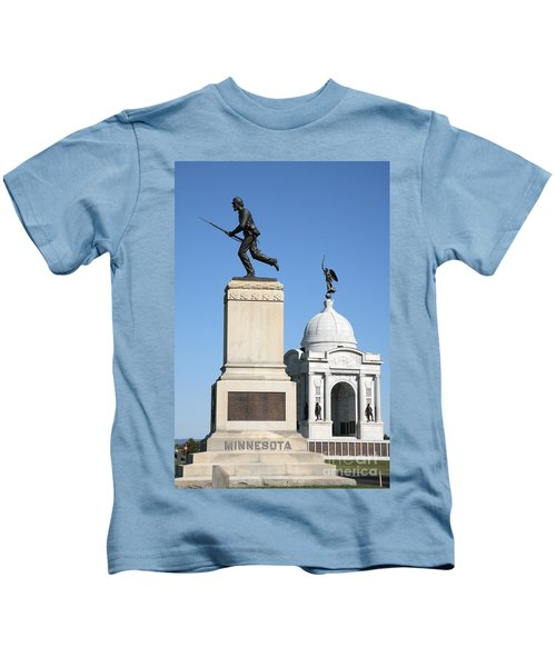 Minnesota And Pennsylvania Monuments At Gettysburg Kids T-Shirt