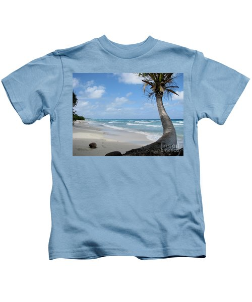 Palm Tree On The Beach Kids T-Shirt
