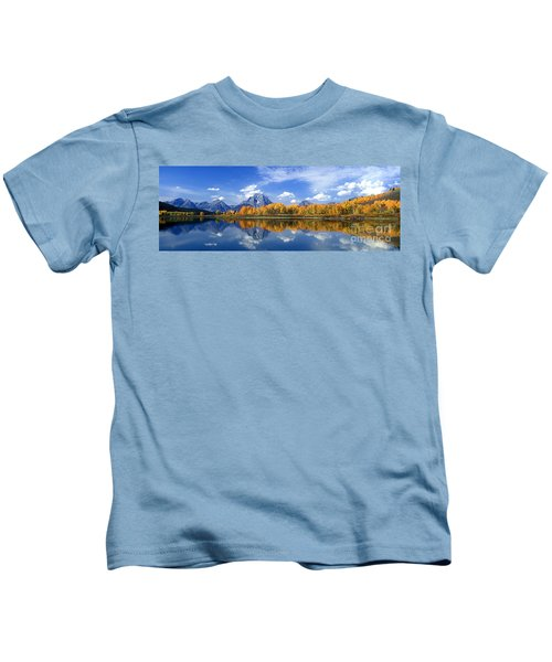 Panorama Fall Morning At Oxbow Bend Grand Tetons National Park Kids T-Shirt