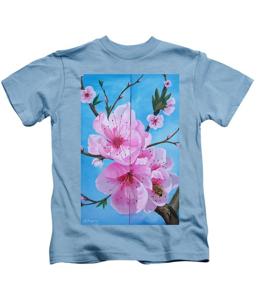 Peach Tree In Bloom Diptych Kids T-Shirt