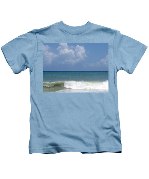 Pelicans Over The Ocean Kids T-Shirt