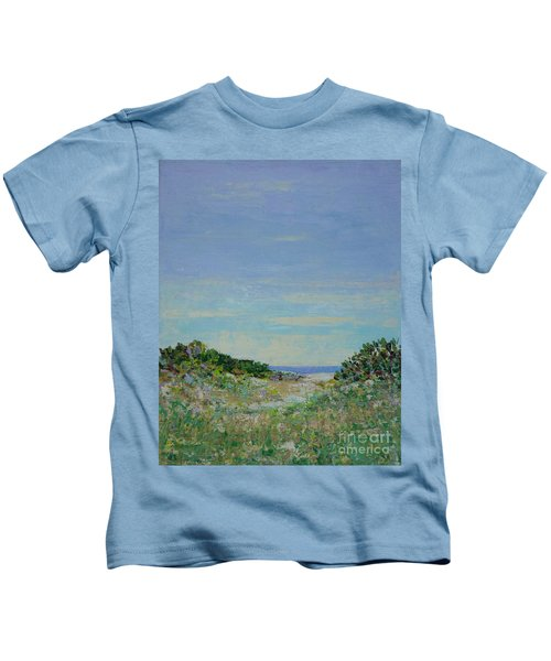 Rainy Day Beach Blues Kids T-Shirt