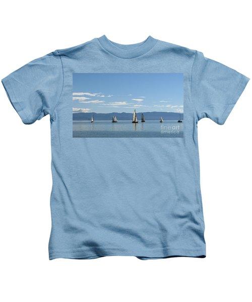 Sailboats In Blue Kids T-Shirt