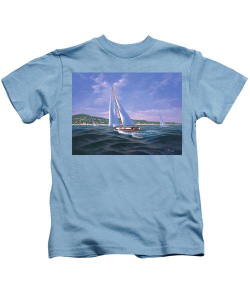 Sailing On Monterey Bay Kids T-Shirt