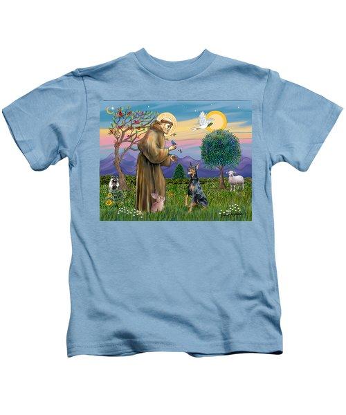 Saint Francis And Doberman Pinscher Kids T-Shirt