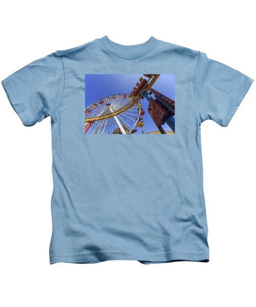 Santa Monica Pier Pacific Plunge Kids T-Shirt