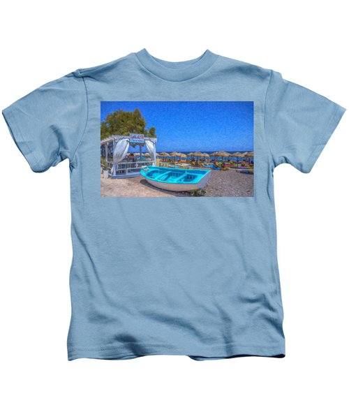 Santorini Beach Boat Grk4151 Kids T-Shirt
