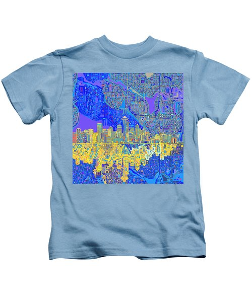 Seattle Skyline Abstract 6 Kids T-Shirt