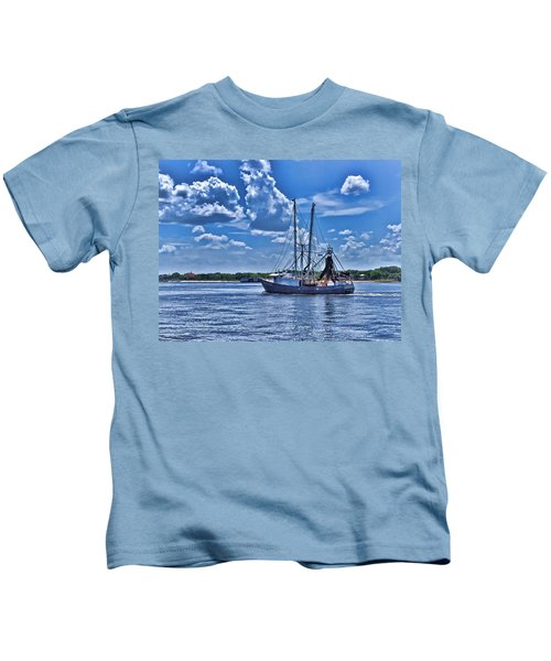 Shrimp Boat Heading To Sea Kids T-Shirt