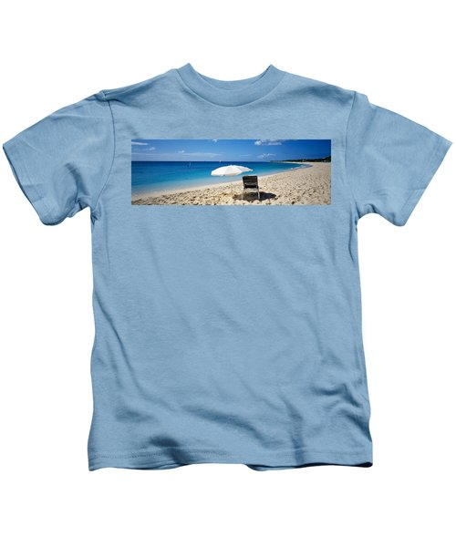Single Beach Chair And Umbrella On Kids T-Shirt
